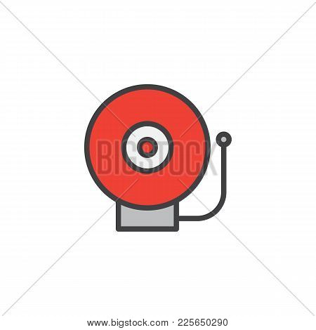 Emergency Alarm Sound Filled Outline Icon, Line Vector Sign, Linear Colorful Pictogram Isolated On W
