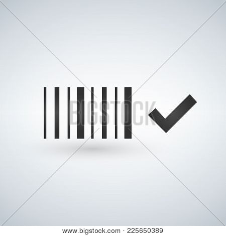 Best Price Bar Code Icon, Black And White Barcode Icon With Check Mark, Vector Illustration