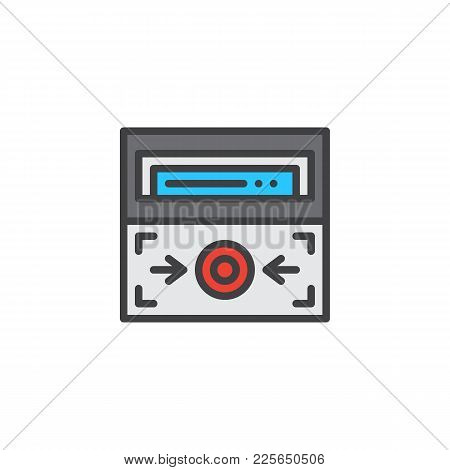 Fire Alarm Button Filled Outline Icon, Line Vector Sign, Linear Colorful Pictogram Isolated On White