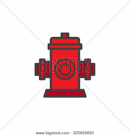 Fire Fighting Hydrant Filled Outline Icon, Line Vector Sign, Linear Colorful Pictogram Isolated On W