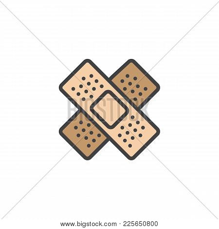 Medical Plaster Filled Outline Icon, Line Vector Sign, Linear Colorful Pictogram Isolated On White.