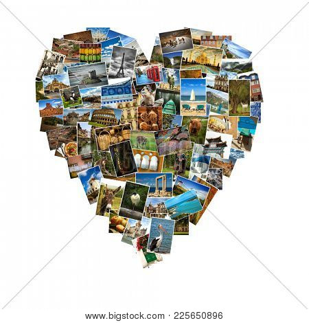 Heart shape made of a collage of travel pictures.  Landscape, animals and landmark from everywhere on white background
