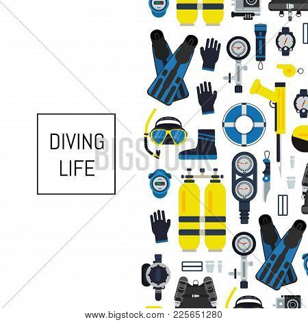 Vector Banner And Poster Underwater Diving Equipment Illustration In Flat Style