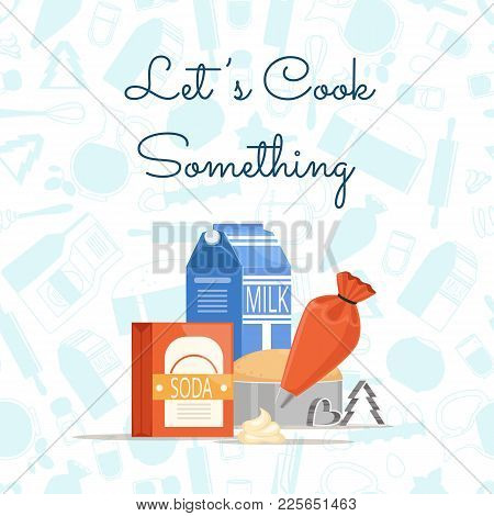 Vector Cooking Ingridients Or Groceries Pile With Place For Text And Monochrome Flat Style Groceries