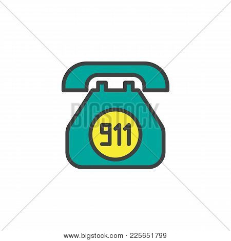 Emergency Call Filled Outline Icon, Line Vector Sign, Linear Colorful Pictogram Isolated On White. O