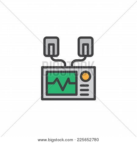 Automated External Defibrillator Filled Outline Icon, Line Vector Sign, Linear Colorful Pictogram Is