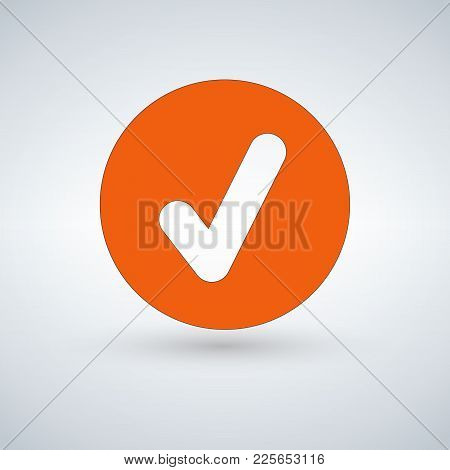 Tick Sign Element. Orangr Checkmark Icon Isolated On White Background. Simple Mark Graphic Design. V