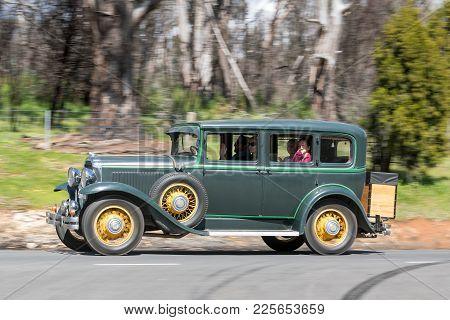 Adelaide, Australia - September 25, 2016: Vintage 1930 Buick 8 Sedan Driving On Country Roads Near T