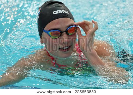 ST. PETERSBURG, RUSSIA - DECEMBER 22, 2017: Kim Busch, Netherlands won women 50m freestyle swimming competitions during Salnikov Cup. The Cup is a preliminary of World Swimming Championship