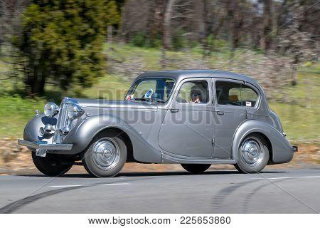 Adelaide, Australia - September 25, 2016: Vintage 1947 Sunbeam-talbot 2000 Sedan Driving On Country