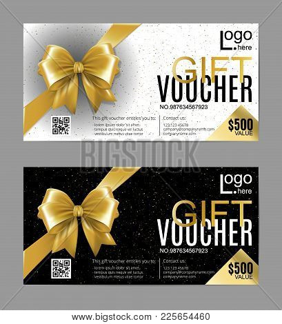 Vector Gift Card Or Voucher Template With Realistic Gold Bow Ribbon. Golden, Black And White Vip Hol