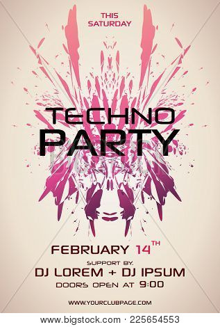 Techno Party Vector Flyer With Red Element