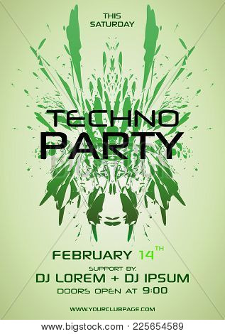 Techno Party Vector Flyer With Green Element
