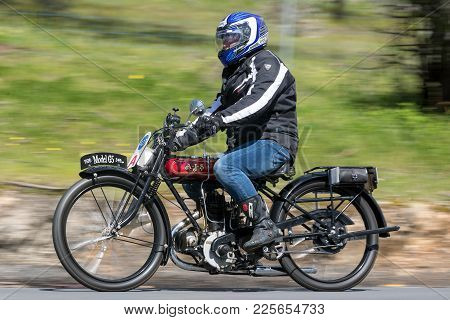 Adelaide, Australia - September 25, 2016: Vintage 1926 Ajs H4 Motorcycle On Country Roads Near The T