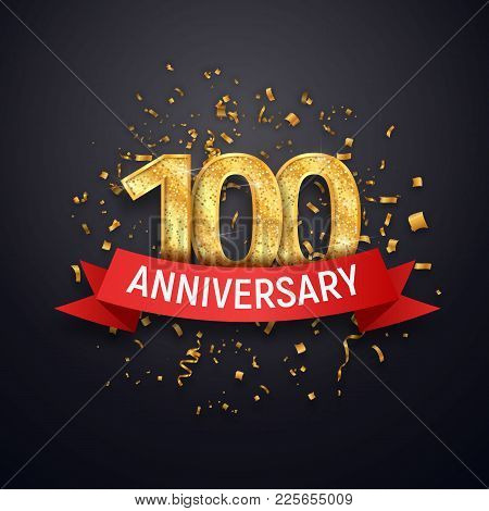 Hundred Years Anniversary Logo Template. 100 Th Celebrating Golden Numbers With Red Ribbon Vector An