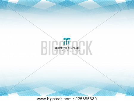 Abstract Blue Square Pattern And Halftone Dots Perspective Header Footer On White Background. Geomet
