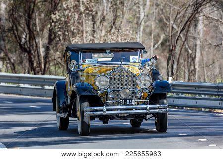 Adelaide, Australia - September 25, 2016: Vintage 1931 Packard 840 Roadster Driving On Country Roads