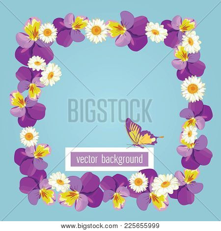 Floral Card Template With Blank Or Empty Frame. Pansies And Camomiles On Light Green Blue Color Back