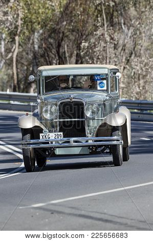 Adelaide, Australia - September 25, 2016: Vintage 1929 Nash Coupe Driving On Country Roads Near The
