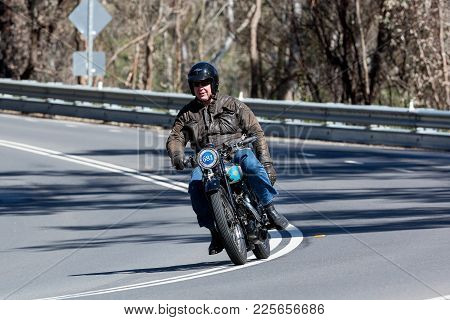 Adelaide, Australia - September 25, 2016: Vintage Levis Motorcycle On Country Roads Near The Town Of