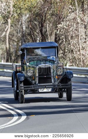 Adelaide, Australia - September 25, 2016: Vintage 1924 Armstrong Siddeley Saloon Driving On Country