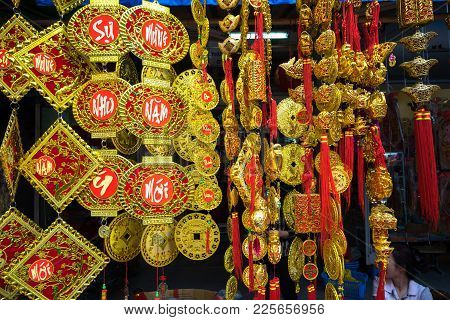 Hanoi, Vietnam - Jan 26, 2017: Decoration And Flower For Vietnamese Lunar New Year For Sale On Hang