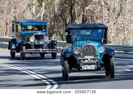 Adelaide, Australia - September 25, 2016: Vintage 1928 Whippet 96 Roadster Driving On Country Roads