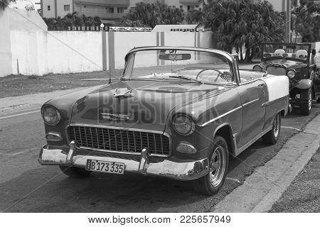 Varadero, Cuba-01.01.2018: Vintage Classic American Car Parked In A Street Varadero