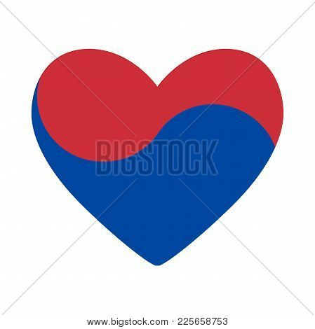 Heart In Colors Of South Korea, Vector