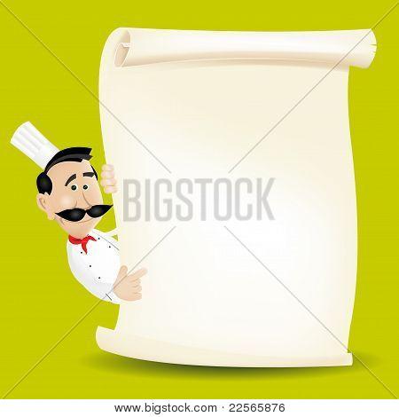 Chef Menu Holding A Parchment Menu