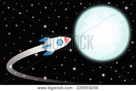 Vector Illustration Business Concept As A Rocket Is Flying To The Shinning Blue Full Moon It Means D