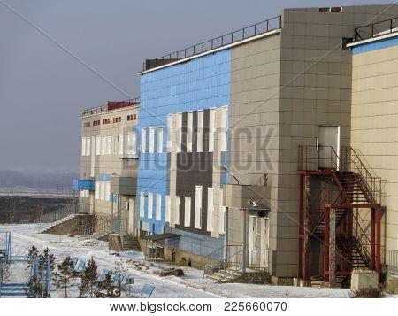 School Building. Modern Architecture. Kazakhstan, Ust-kamenogorsk. Building