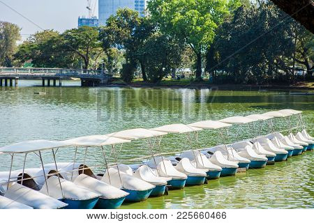White Pedal Boats On The Lake In Lumpini Park,thailand