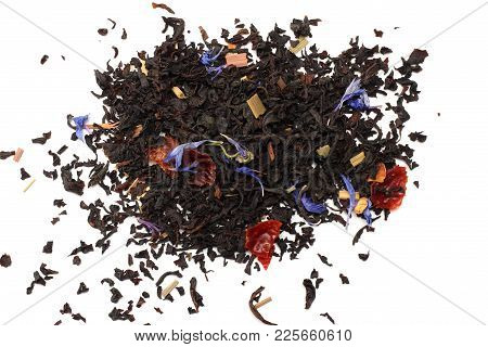 Aromatic Black Dry Tea With Petals Isolated On White Background Top View