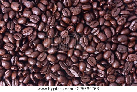 Close Up Arabica Coffee Beans For Background.