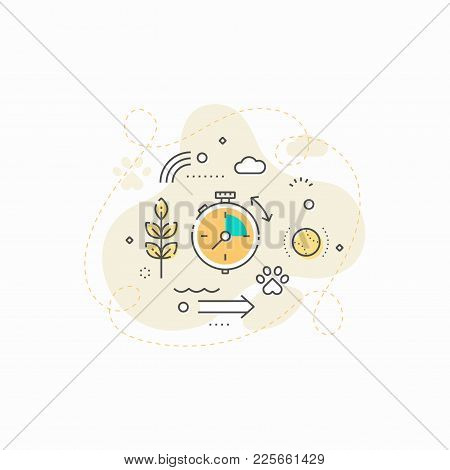 Vector Picture Of Dog Walking Stopwatch And Walking Services In Help To Owners.