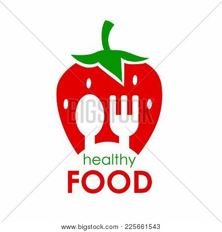 Logo Healthy Food. Vector Illustration Of Strawberries. Can Be Used As A Logo For Your Company. Desi