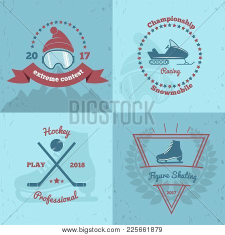 Winter Sports Emblems 2x2 With Extreme Contest, Snowmobile Championship, Professional Hockey, Figure