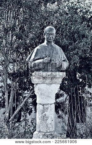 Bronze Bust Of The Pope Paulus Sixth On The Mount Tabor In Israel, Stylized Photo
