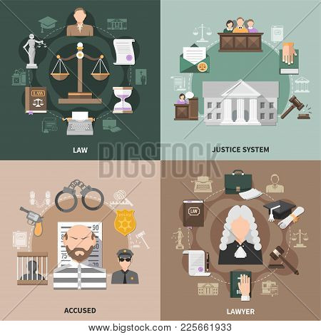 Law Design Concept With Round Compositions Of Flat Crime And Justice Related Icons With Human Charac