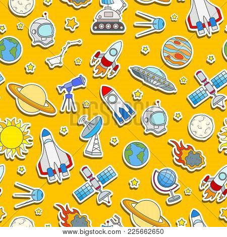 Seamless Pattern On The Theme Of Space And Space Travel Color Sticker Icons On Orange Background