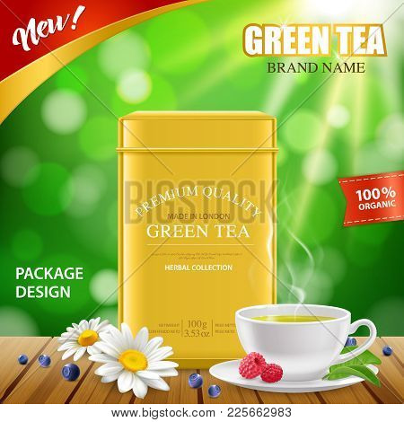 Green Tea Golden Tin Box New Package Design Realistic Advertisement Poster With White Porcelain Cup