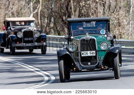 Adelaide, Australia - September 25, 2016: Vintage 1928 Chevrolet Ab National Utility Driving On Coun