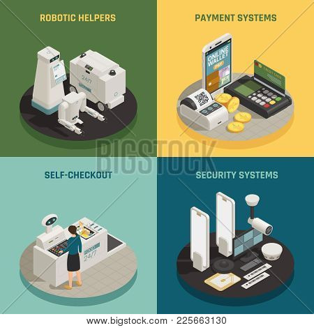 Commercial Robotic Helpers In Stores Shops Supermarkets 4 Isometric Icons Concept With Self-checkout