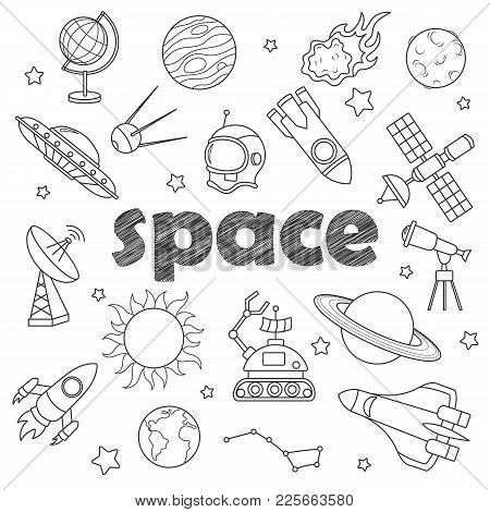 Set Of Contour Icons On The Subject Of Space Flight And Astronomy, Dark   Contour  Icons On The  Whi