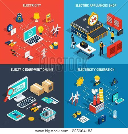 Four Squares Electricity Isometric Concept With Electric Appliances Shop Electricity Generation Elec
