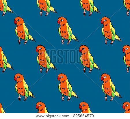 Colorful Parrot On Indigo Blue Background. Vector Illustration.