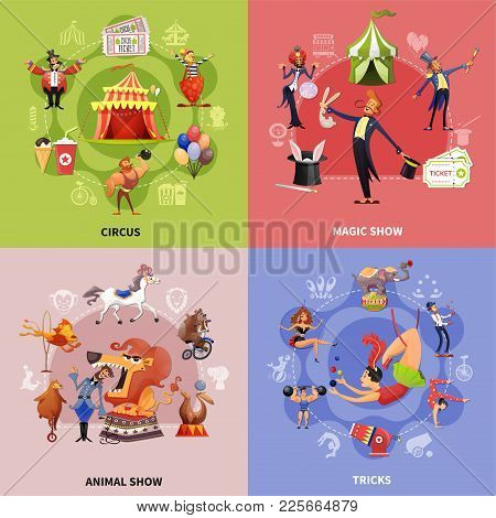 Circus Cartoon Concept With Circus Magic Show Animal Show And Tricks Descriptions Vector Illustratio