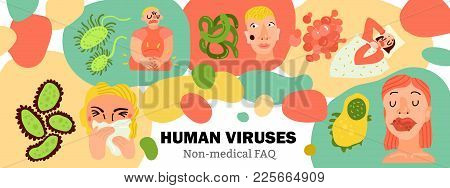 Human Viruses, Body Infections, Ill Persons During Influenza, Digestive Disease, Skin Rashes, Hand D