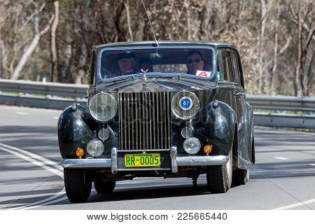 Adelaide, Australia - September 25, 2016: Vintage 1951 Rolls Royce Silver Wraith Limousine Driving O